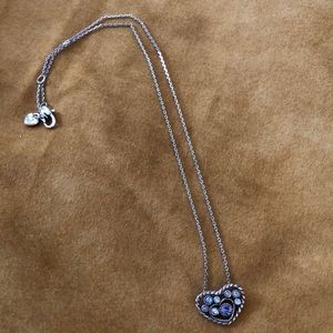 Brighton Silver Necklace with Purple Stones